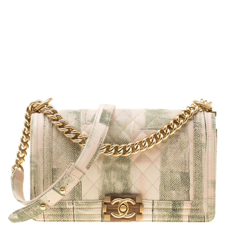 0aaa6c6365ae ... Chanel Beige/Green Quilted Watercolor Print Caviar Leather Medium Boy  Flap Bag. nextprev. prevnext