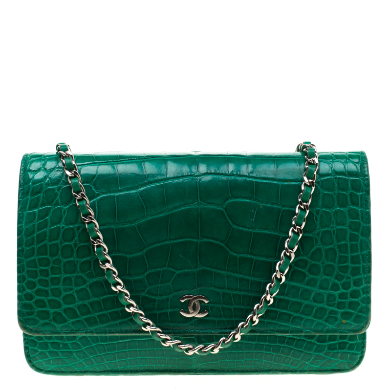 57882d22aae1 Buy Chanel Green Alligator WOC Clutch Bag 182795 at best price | TLC