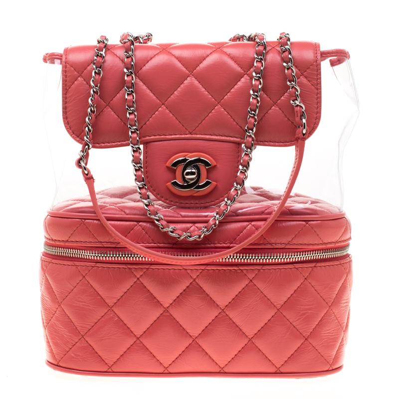 301f420830c6 ... Chanel Coral Orange Quilted Leather Vanity Flap Shoulder Bag. nextprev.  prevnext