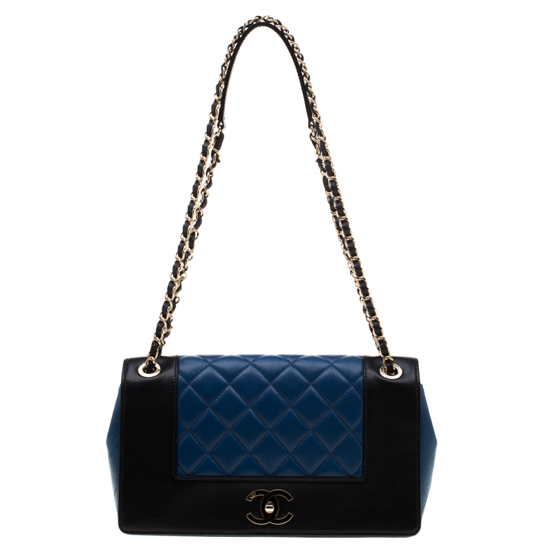 f2cfd12b26f5 ... Chanel Black/Blue Quilted Leather Classic Mademoiselle Vintage Flap  Bag. nextprev. prevnext