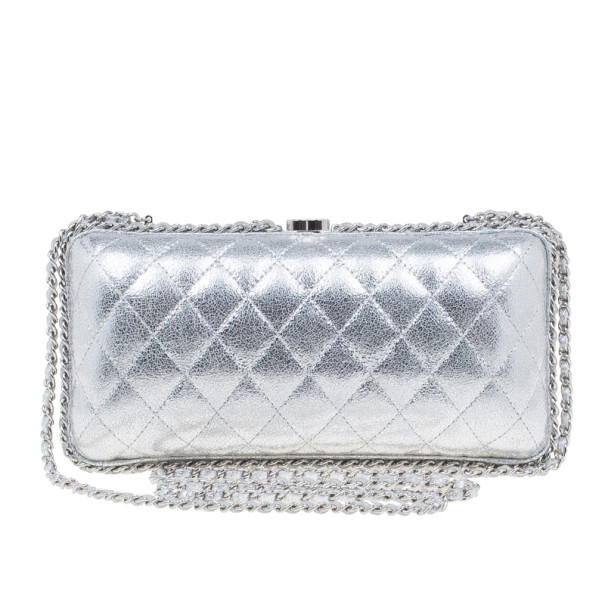 6a095153e8bf Buy Chanel Silver Lambskin Small Chain Around Clutch 1880 at best price