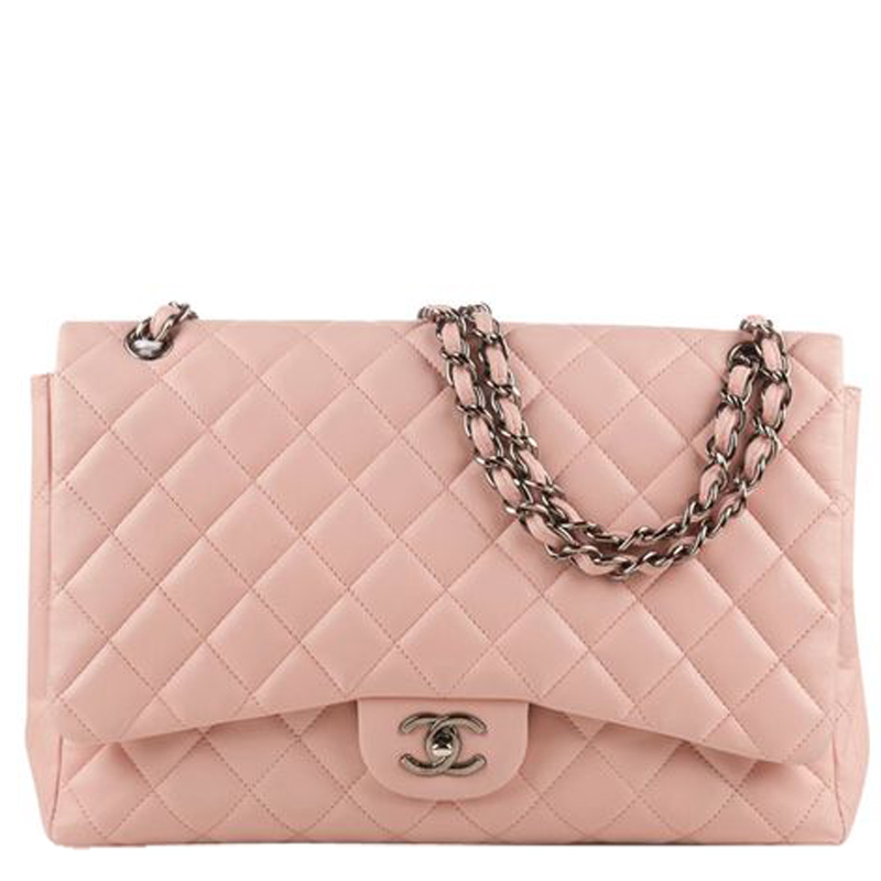 Chanel Light Pink Quilted Leather Jumbo