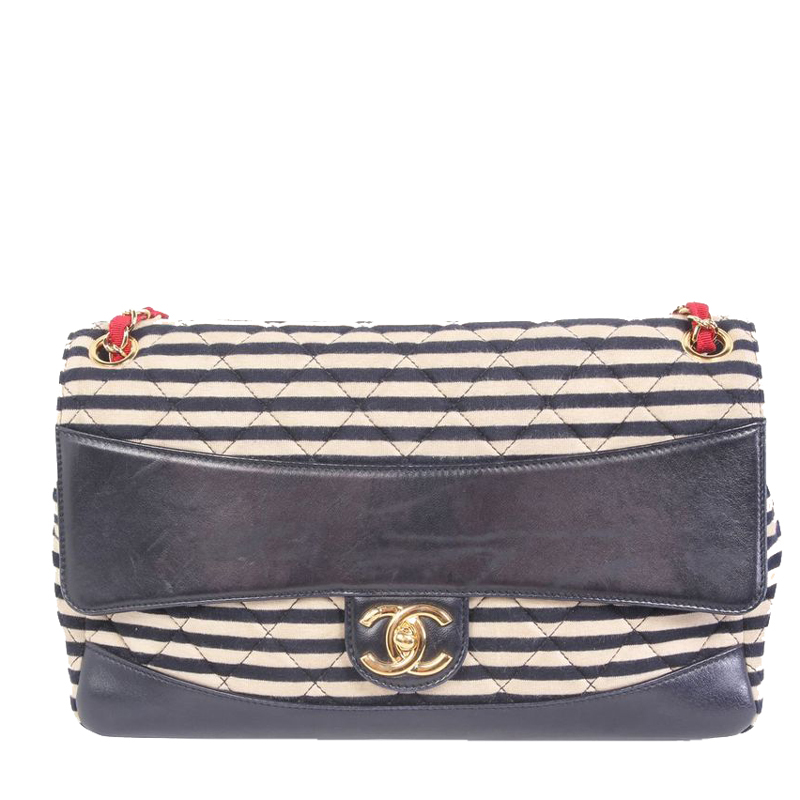 Chanel Blue Stripes Canvas And Leather Trimmed Jumbo Flap Bag