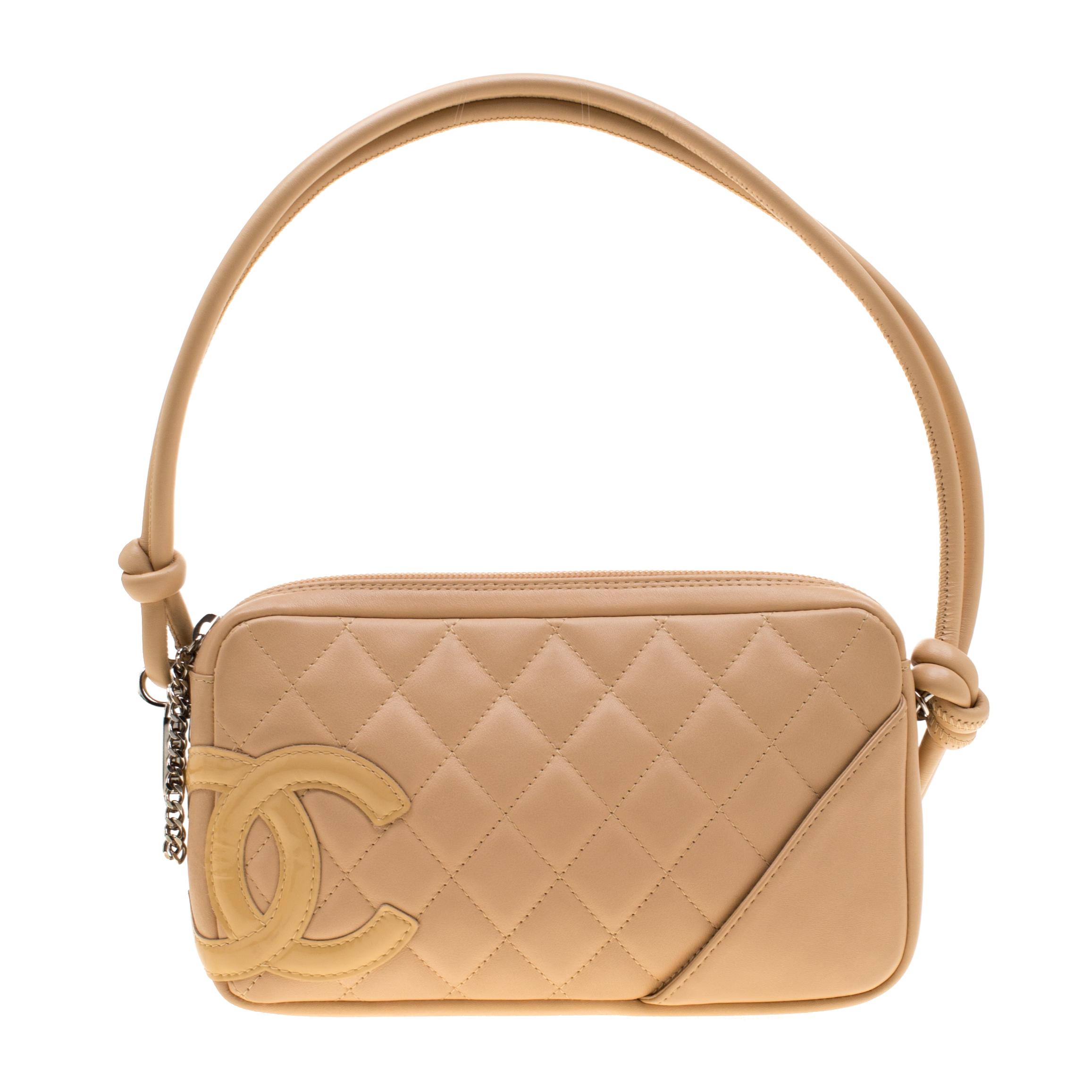 Chanel Cream Quilted Leather Ligne Cambon Pochette