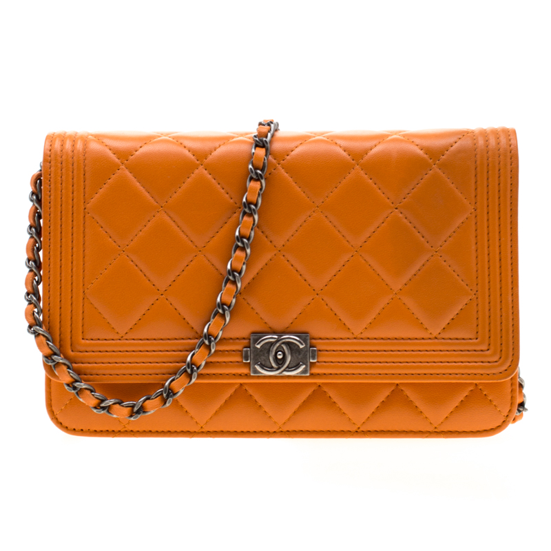 513809c7e179 Buy Chanel Orange Quilted Leather Boy WOC Bag 194020 at best price | TLC