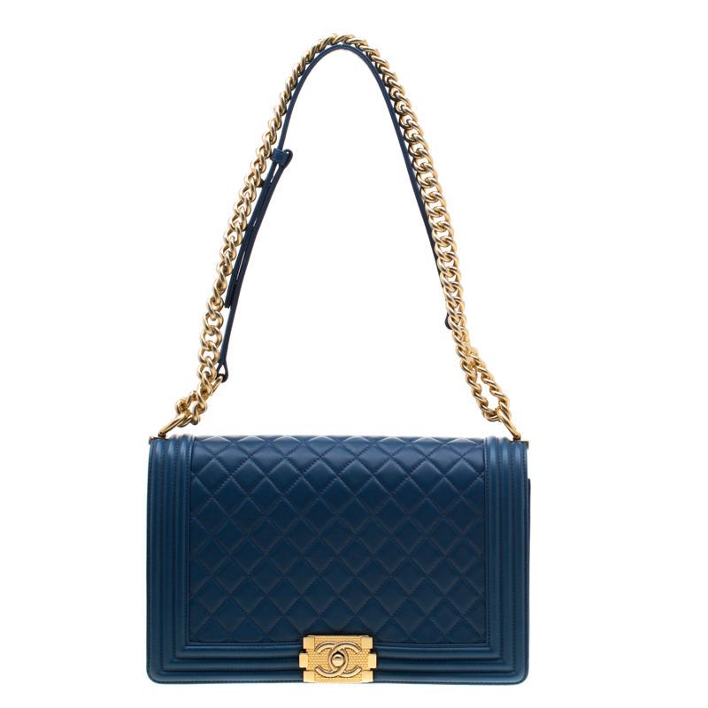 cd52b4b5460e Buy Chanel Blue Quilted Leather Boy Flap Bag 194098 at best price   TLC