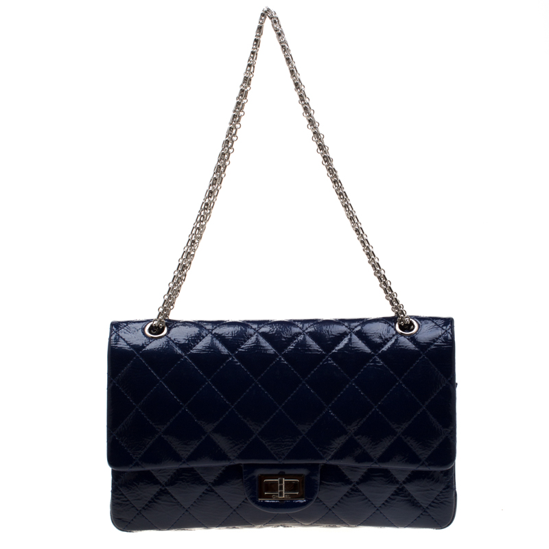 531524d6ba29 ... Chanel Blue Quilted Patent Leather Reissue 227 Flap Bag. nextprev.  prevnext