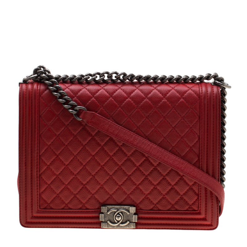 Chanel Red Quilted Leather Large Boy Flap Bag