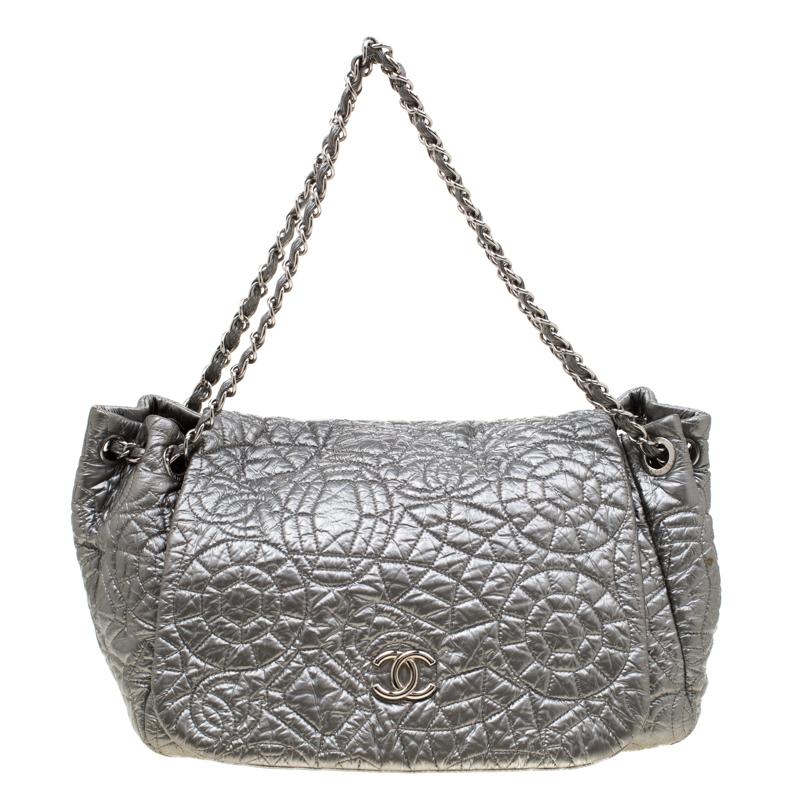 Chanel Silver Patent Vinyl Graphic Edge Flap Bag