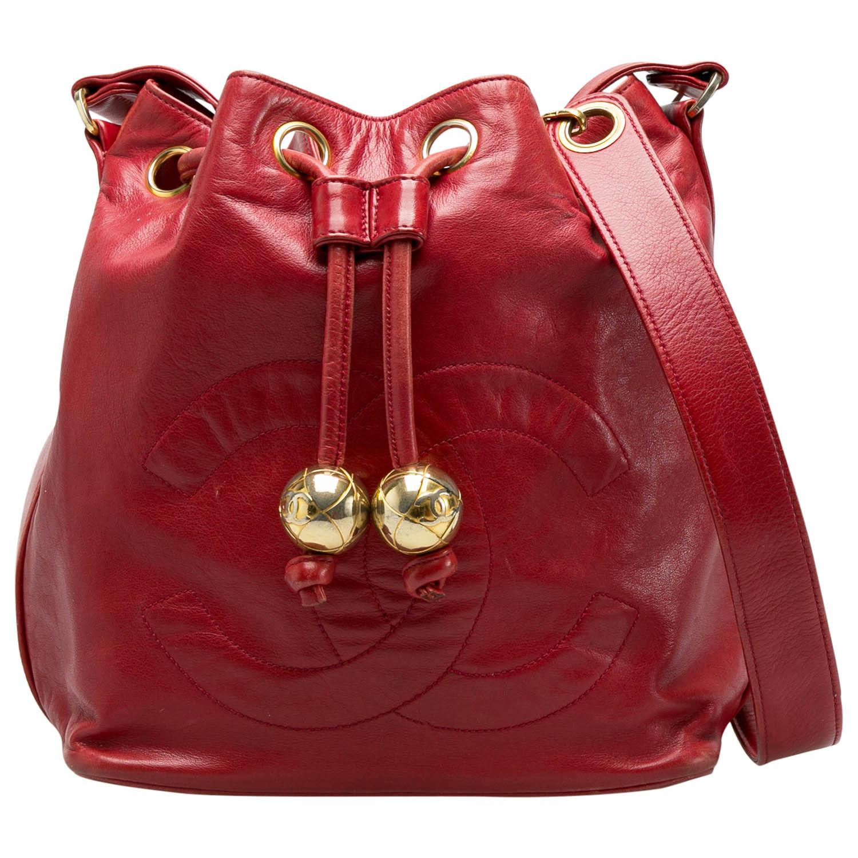 Chanel Red Leather Vintage CC Drawstring Bucket Bag