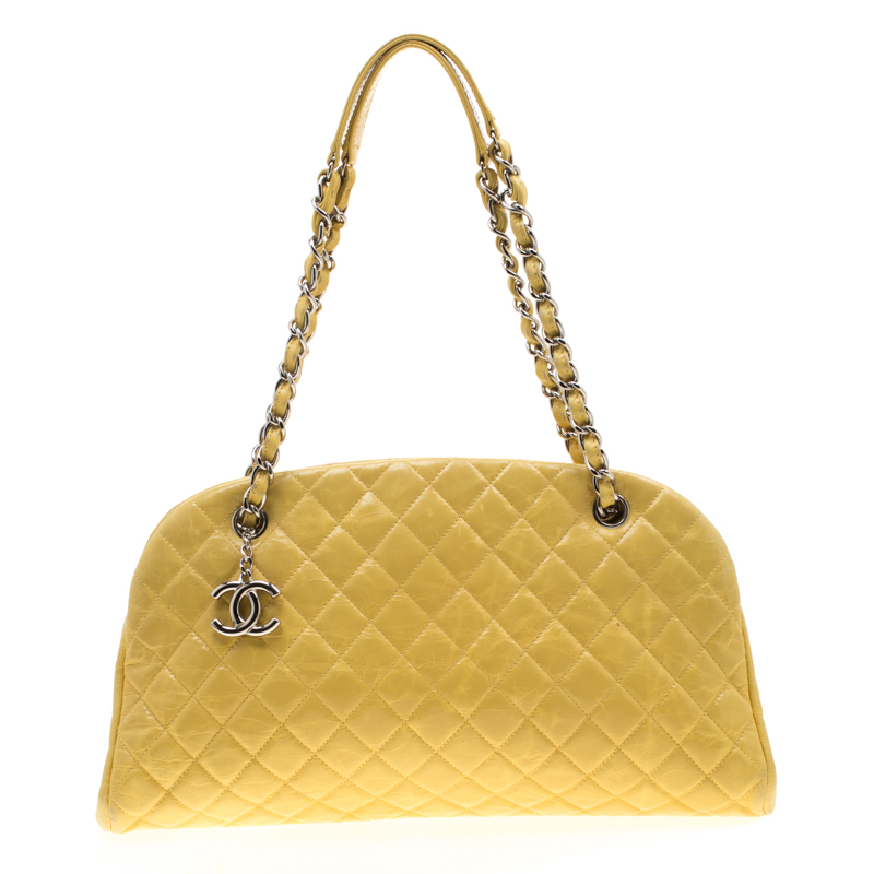 Chanel Yellow Quilted Leather Mademoiselle Bowler Bag