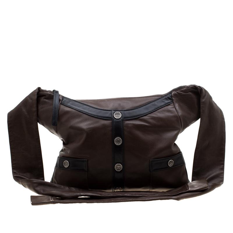 Chanel Brown/Black Leather Medium Girl Shoulder Bag