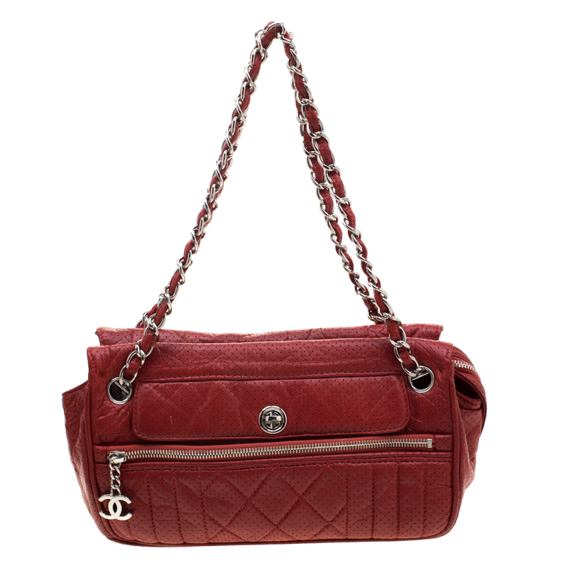 Chanel Red Perforated Leather Camera Bag