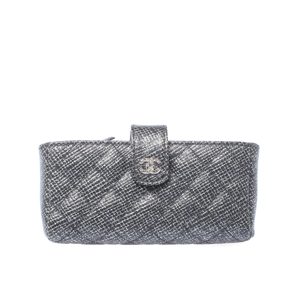 Chanel Black/Silver Quilted Leather CC Phone Holder Clutch