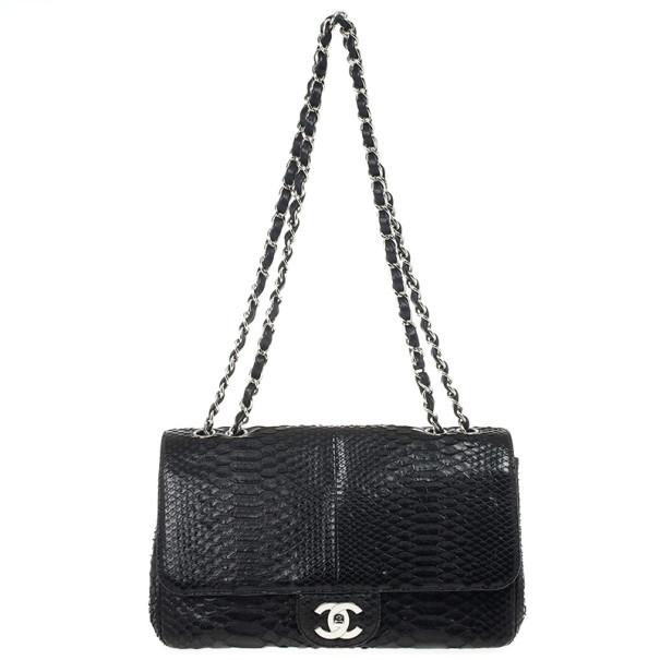 d0938cb0a57 Buy Chanel Classic Black Python Jumbo Flap Bag 21452 at best price