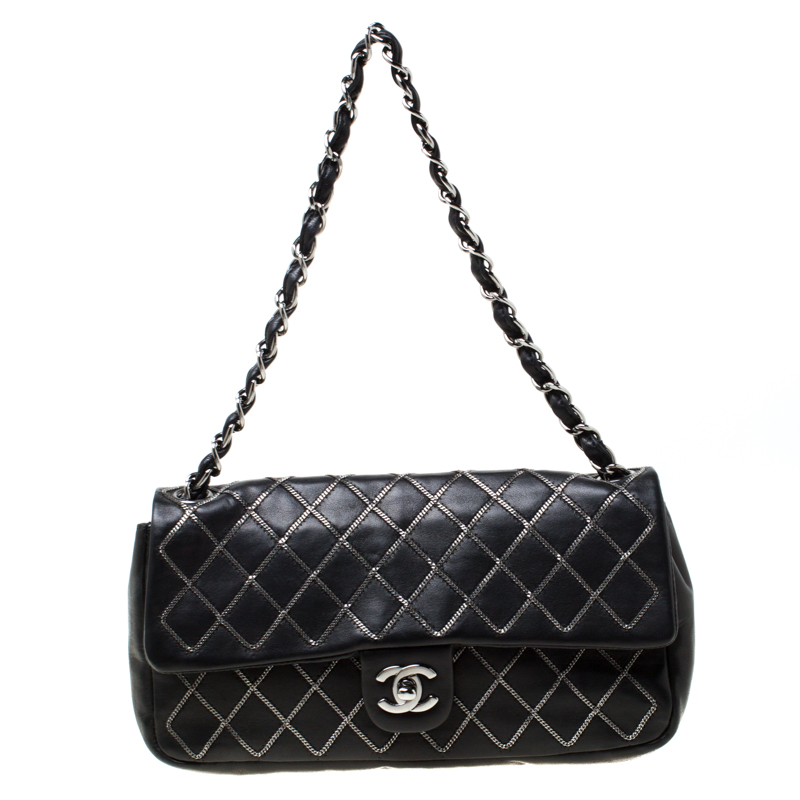 Chanel Black Chain Quilted Leather East West Flap Bag