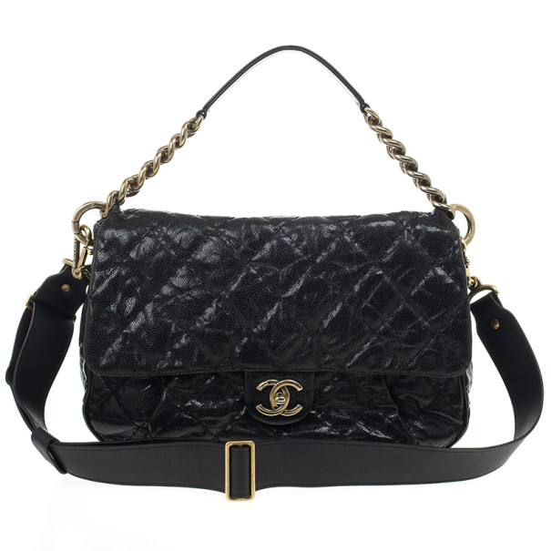 e7671a650f9f Buy Chanel Black Quilted Glazed Cavier Leather Coco Pleats Messenger ...