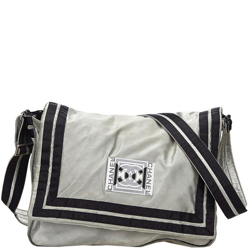 Gray Nylon Cc Sports Line Crossbody Bag