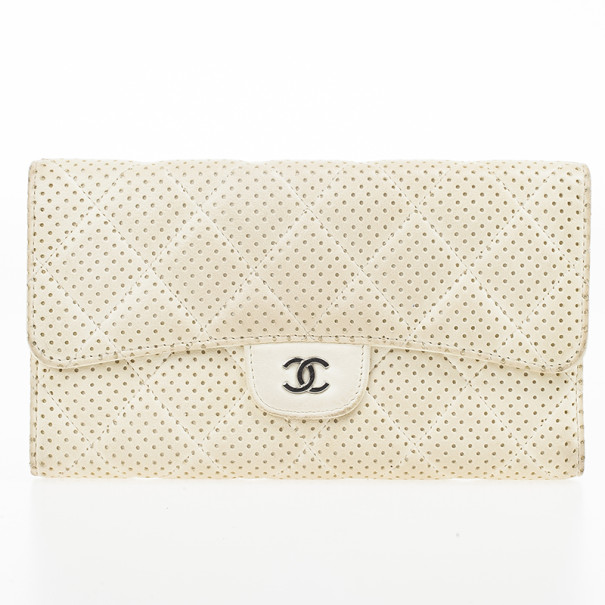 238d4fb50227 Buy Chanel White Perforated Leather Continental Wallet 22118 at best price