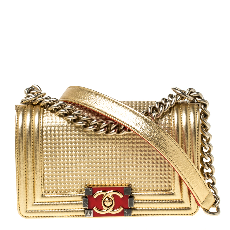 Chanel Gold Leather Small Embossed Cube Boy Bag
