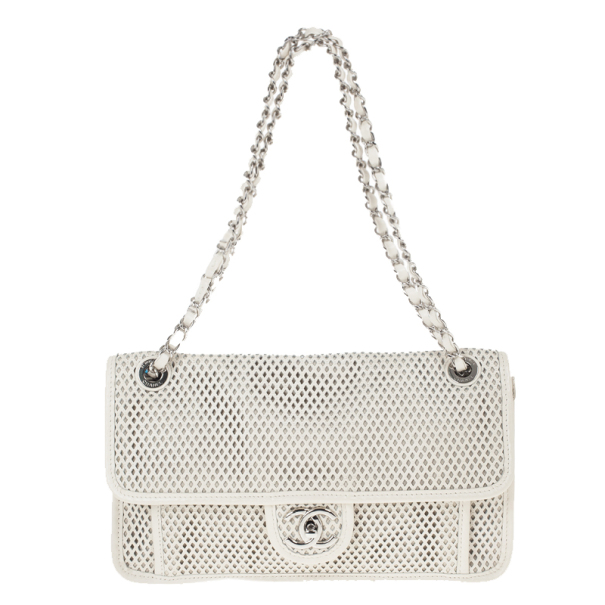 7b8c9cbc0d58 Buy Chanel White Perforated Calfskin Up in the Air Classic Flap Bag 22618  at best price