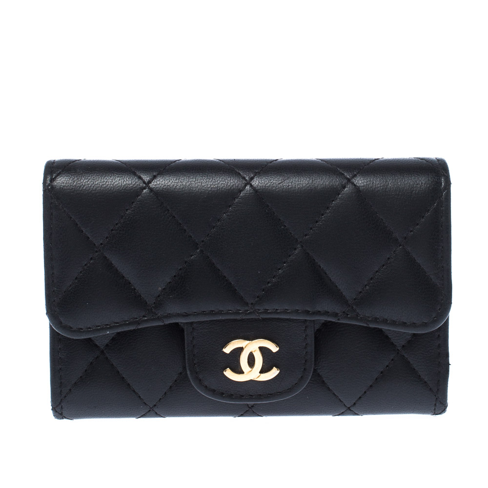 Chanel Black Quilted Leather Small Classic Flap Wallet