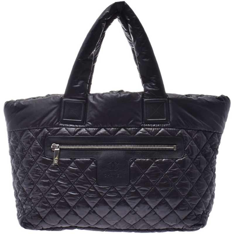 Chanel Black Quilted Nylon Coco Co Tote Bag