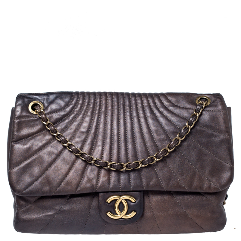 Chanel Brown Wave Quilted Leather Maxi Flap Bag