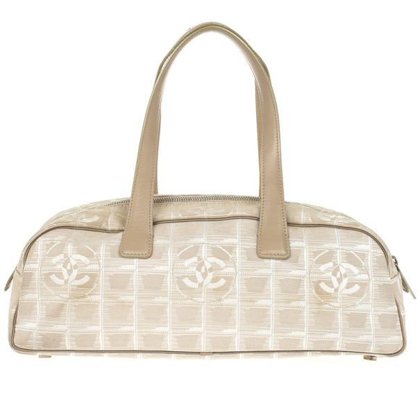 2acb3e76cc5070 Buy Chanel Beige Nylon CC Logo Travel Line Satchel Bag 24480 at best price  | TLC