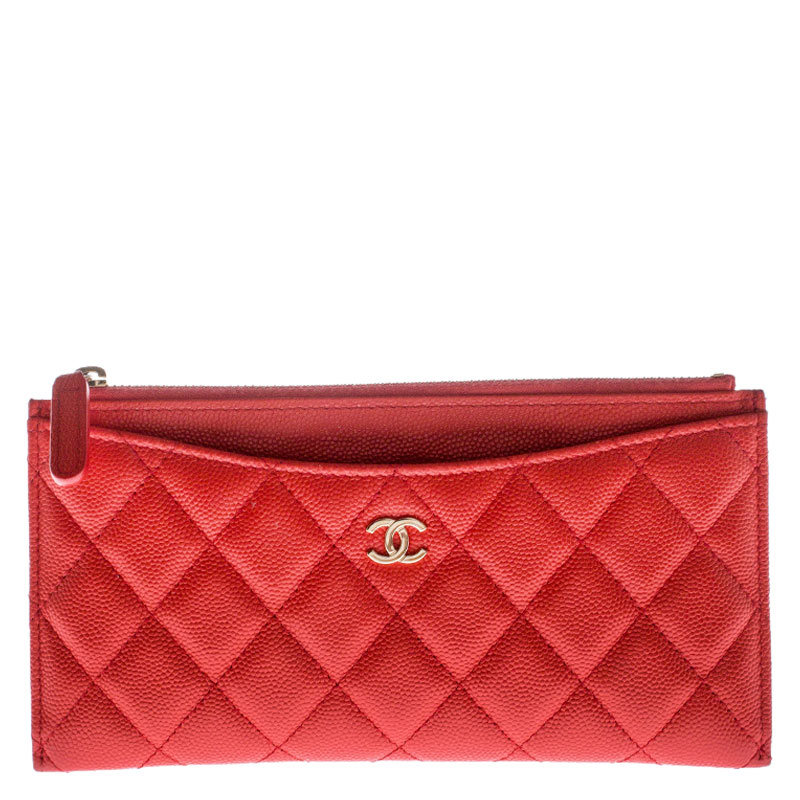 Chanel Orange Quilted Leather Classic Top Zip Wallet