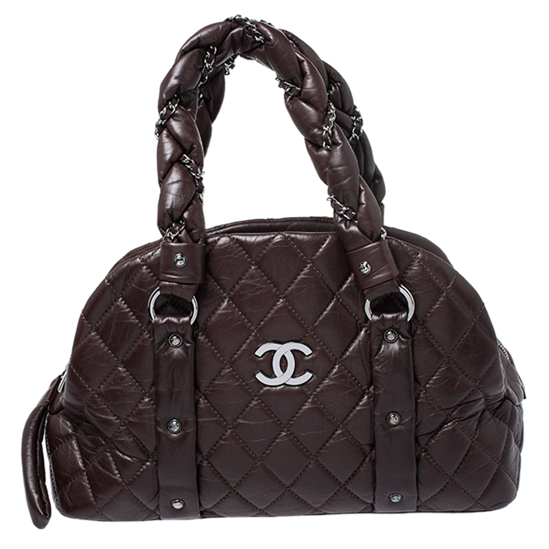 Chanel Dark Brown Quilted Leather Bag Puffer Lady Braid Bowler Bag