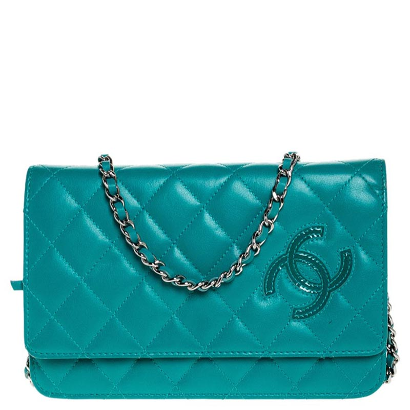 Chanel Turquoise Quilted Leather Flap WOC Clutch Bag