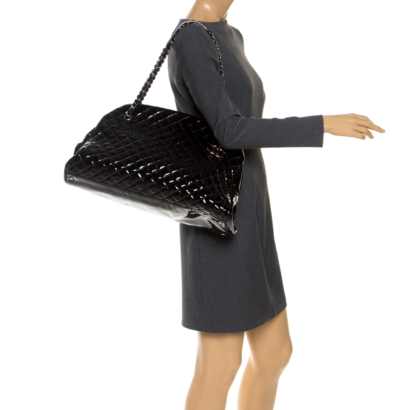 Chanel Black Quilted Patent Leather Large Just Mademoiselle Bowler Bag