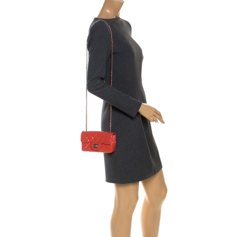 Chanel Coral Patent Leather New Mini Classic Flap Bag, Orange
