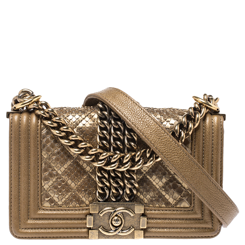 Leather Small Chain Boy Flap Bag Chanel