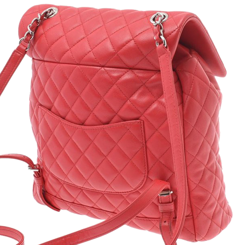 Chanel Red Quilted Lambskin Leather Backpack