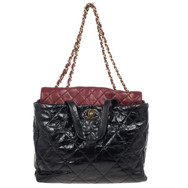 Buy Chanel Black Glazed Distressed Leather Burgundy Lambskin Portobello  Large Tote Bag 26150 at best price