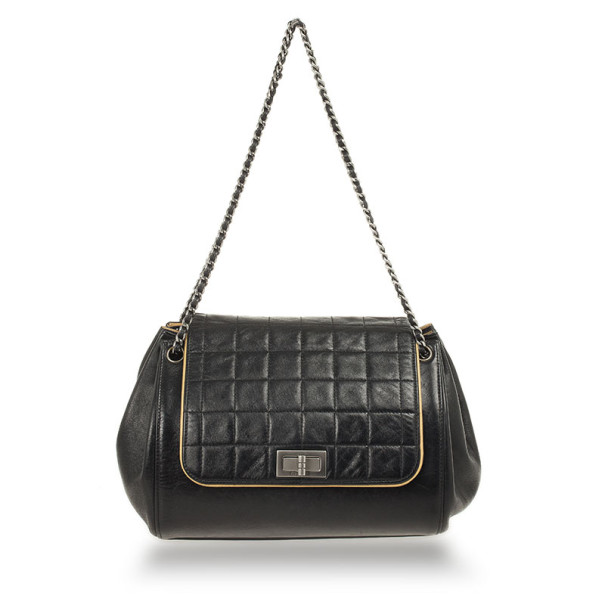 7058894b916c ... Chanel Black Square Quilted Lambskin Leather Mademoiselle Accordion  Flap Bag. nextprev. prevnext