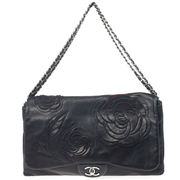Buy Chanel Black Lambskin Camelia Flap Special Edition Runway Bag ... e333ded7a