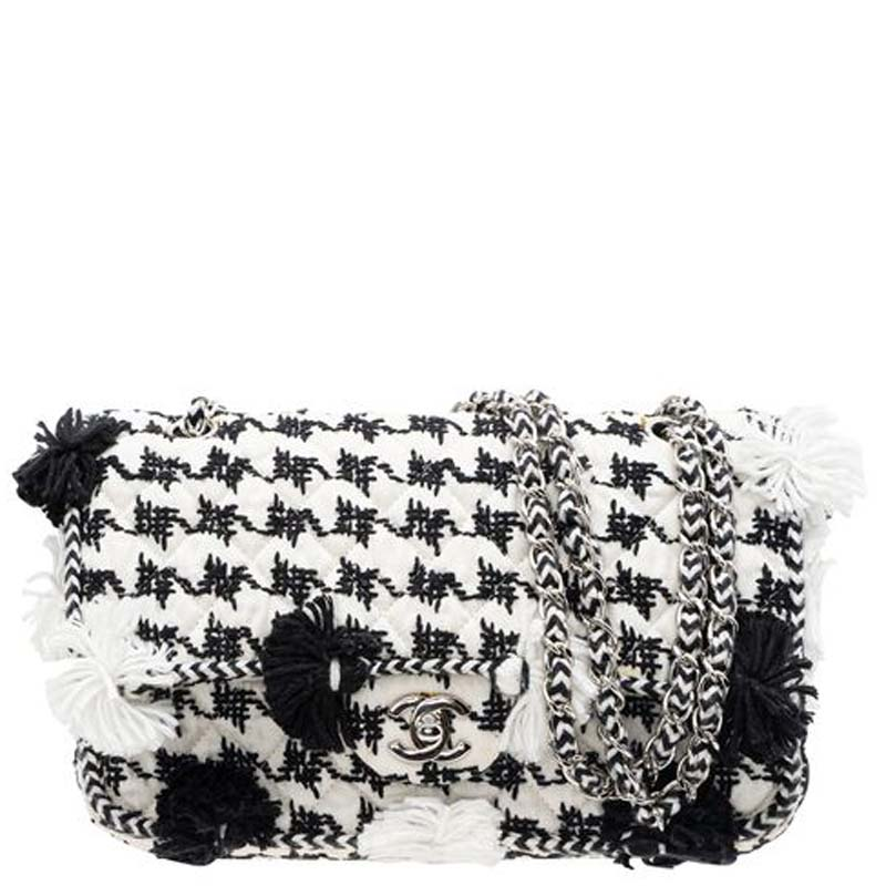 Chanel White/Black Cruise Embroidered Flap Bag