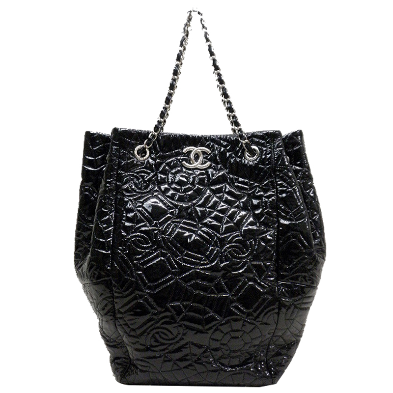 Chanel Black Patent CC Stitch Leather Tote Bag