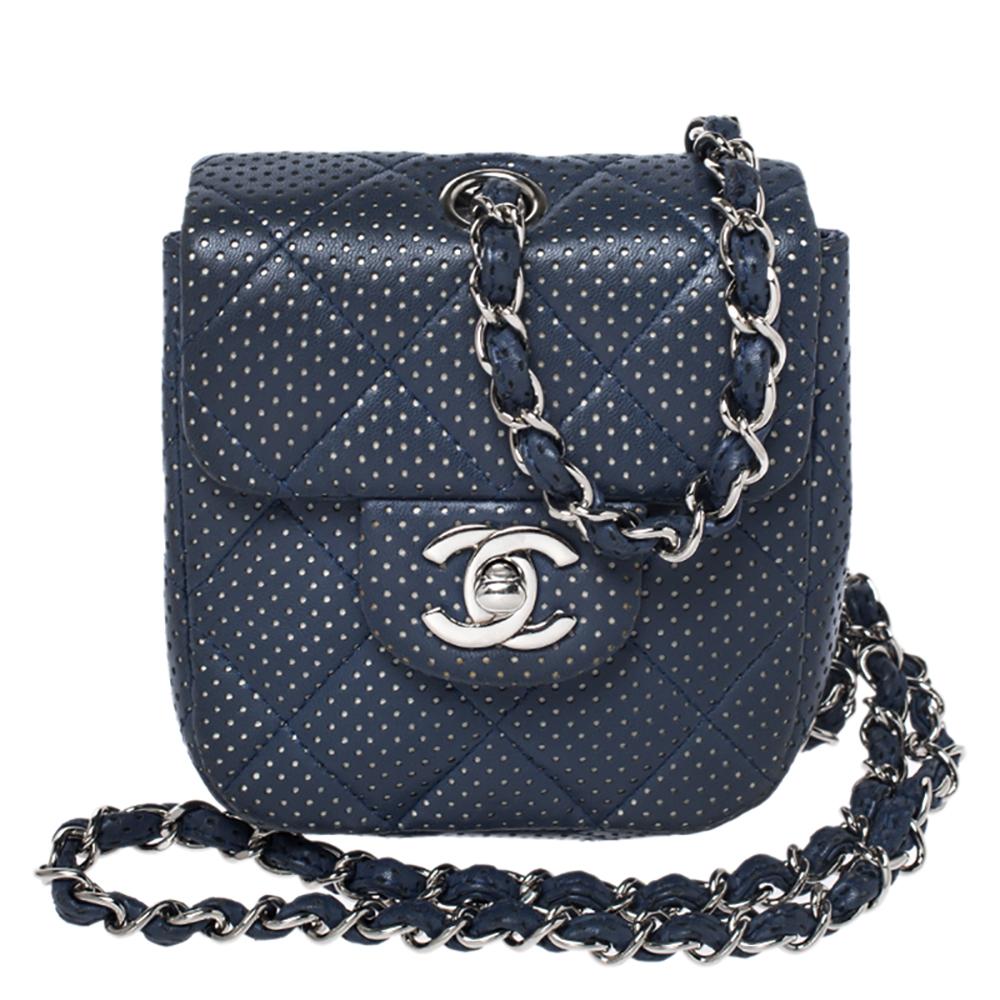 Perforated Leather Mini Crossbody Bag