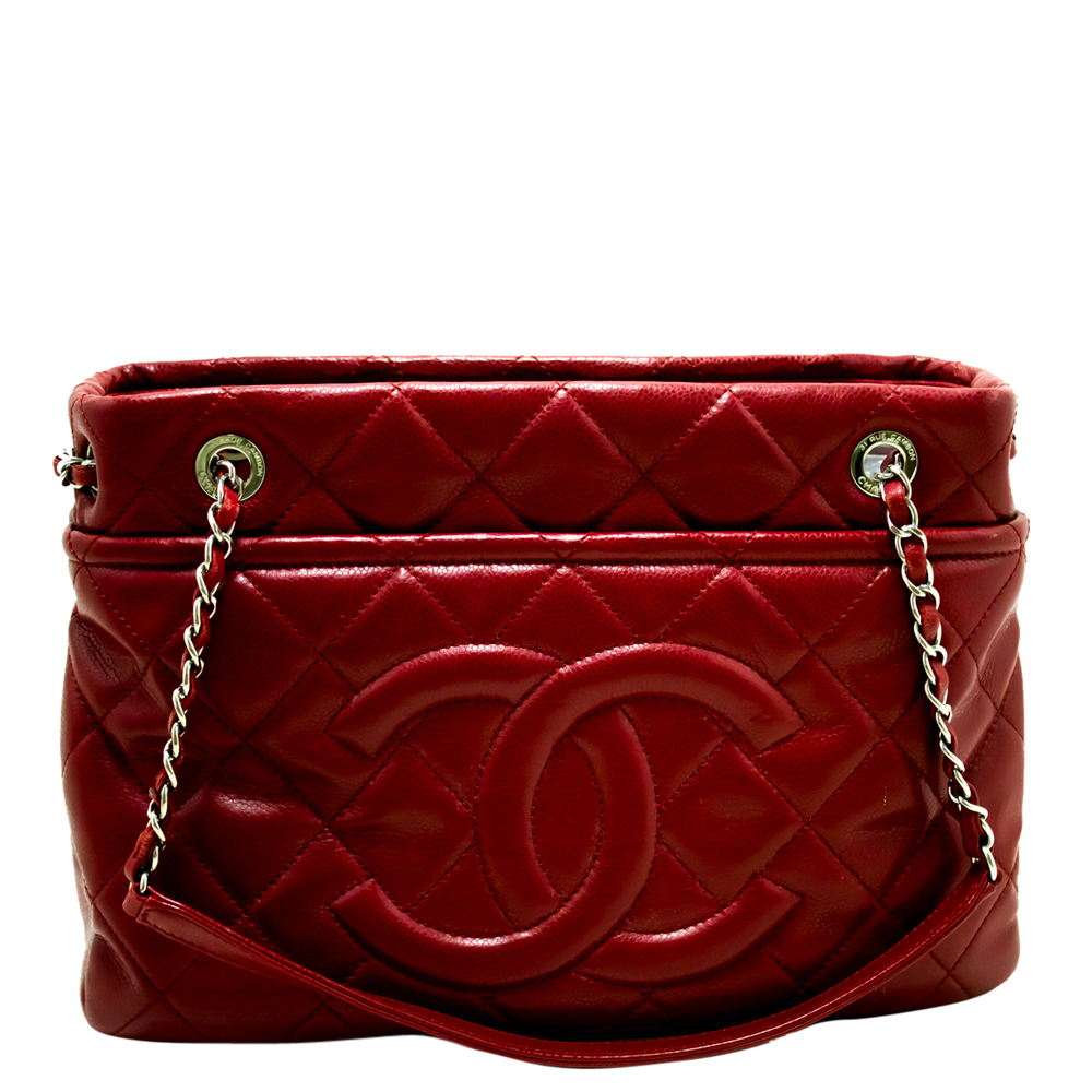 Chanel Red Quilted Leather Large Chain Tote Bag