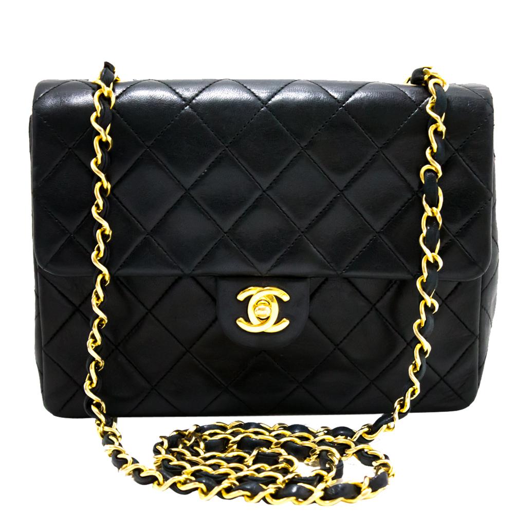 Chanel Black Quilted Leather Medium Flap Shoulder Bag