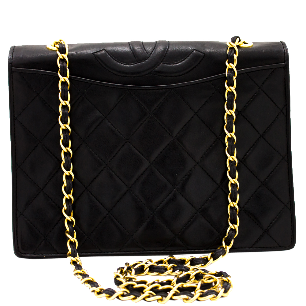 Chanel Black Quilted Leather Full Flap Classic Chain Shoulder Bag