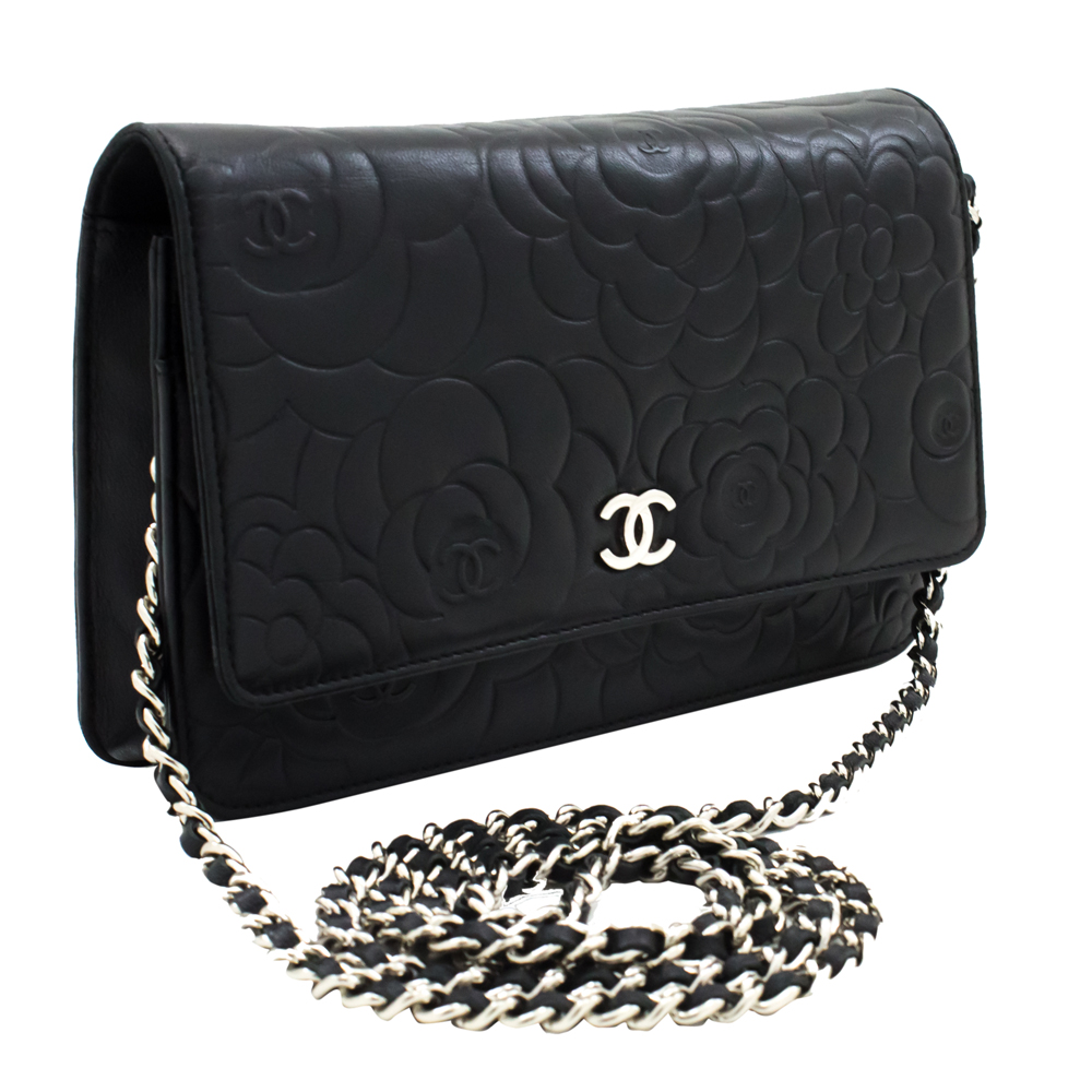 Chanel Black Camellia Embossed Leather Small Flap Bag