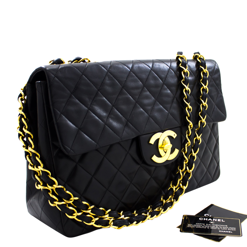 Chanel Black Quilted Leather Jumbo Flap Shoulder Bag