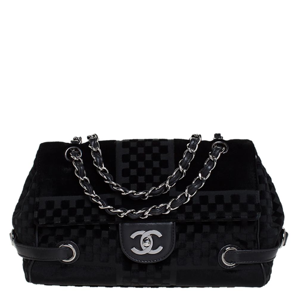 Chanel Black Checkered Velvet Small Shoulder Bag