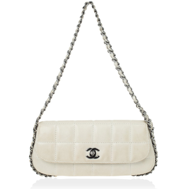 Buy Chanel White Leather Multi Chain Classic Flap Bag 27775 at best ... 3f6f45ff84