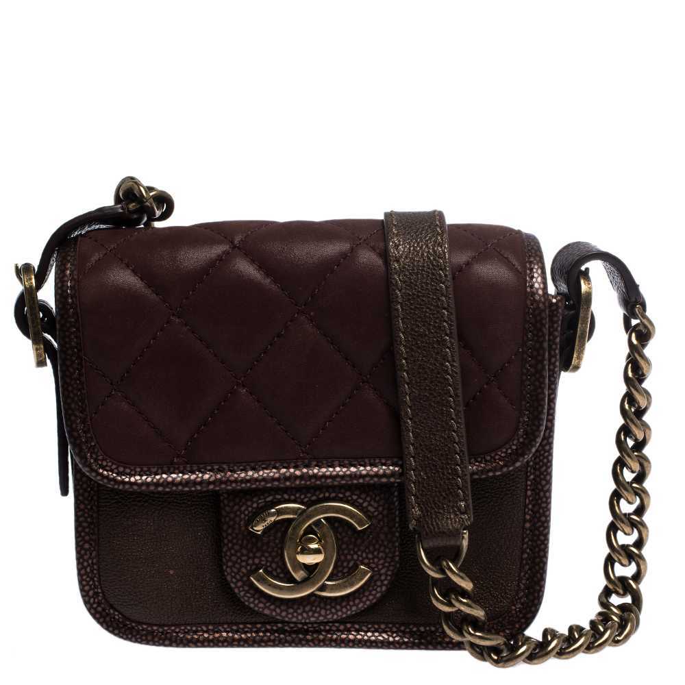 Chanel Metallic Maroon Suede and Caviar Leather Paris Bombay Back To School Mini Bag